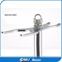 Quality Lustrous Bright Silver Stainless Steel Razor and Brush Quality Shaving Stand for sale