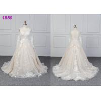 Quality Bridal Long Sleeves Lace Designs A Line Ball Gown Wedding Dress Custom Made for sale
