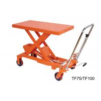 Quality 750Kg 16501b Hand Lift Table , Hydraulic Scissor Lift Cart Easy Hand Operation for sale