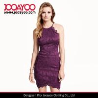 Quality Sleeveless Open Back Short Lace Top With A Tie Around Neckline Office / Party Dress for sale