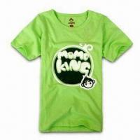 China Children's T-shirt, Made of Cotton, Various Sizes are Available, Comes in Green on sale