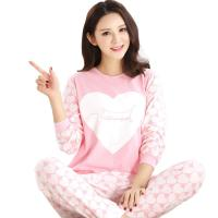 Spring Fall Ladies Pyjama Sets Pink Girl Long Sleeve Cotton Love Print Pajamas