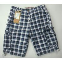Quality Man Printed Check Cargo Shorts for sale