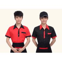 Red And Black Color Restaurant Staff Uniform Cotton New Polo Style For