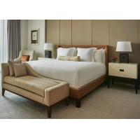 Buy cheap Brown Leather Motel 6 Hotel King Bed Furniture , Fabric Bench product