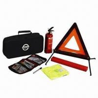 Quality 6 pieces car emergency kit, includes tire pressure gauge, fire extinguisher, FAK and safety vest for sale