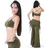 China Tribal viscose belly dance practice costume / belly dance workout clothes Olive green color on sale