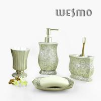 Quality Polyresin Bathroom Set with Soap Dispenser / Tumbler / Soap Dish for sale