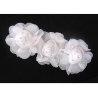Quality 16cm White Handmade Fabric Flower Corsage With Rhinestone Ornament 120D Chiffon Garment Trimmings for sale