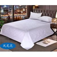 Quality Hotel bedding white hotel bed sheet Jacquard cotton sateen Flat sheet for sale