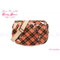 Quality Orange Spring Plaid Cross Body Bags for women , 2 internal pockets for sale