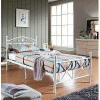 Buy cheap White Wire Metal Frame Bed Twin Size Footboard Bedroom Furniture For Aldult product