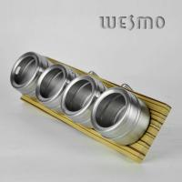 Buy cheap Bamboo Spice Rack with Hanger with 4pcs Stainless Steel Spice Shakers product