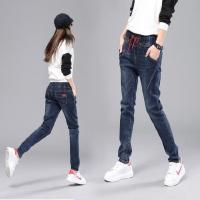 Quality High Waisted Womens Loose Fit Jeans , Ladies Straight Legged Jeans With Elastic Waist for sale