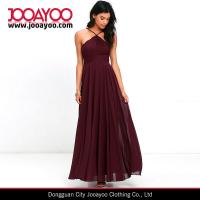 Quality Elegant Adjustable Strap Lace Bodice Burgundy Maxi Chiffon Evening Dress for sale