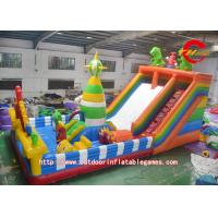 China Dinosaur Kingdom Children's Slide Inflatable Jumping Castle Bed Customized on sale