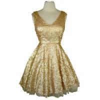 China Custom Gold Sequins Pinup V Neck Ladies Cocktail Dresses With Bowknot on sale