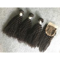 Quality Full and Thick Peruvian Human Hair Weave Unprocessed with Kinky Curly Closure for sale