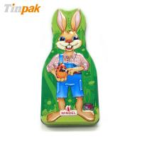 Quality rabbit shaped chocolate tin boxes for Easter day for sale