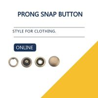 Quality Capped Prong Snap Button For Denim Shirts & Blouses , Brass Engraved Bulk Buttons for sale
