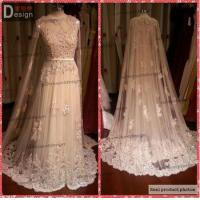 Quality Surmount Design High Class Luxury Real Sample Lace Champagne Elie Saab Evening Dress with Cape 2015 for sale