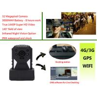 Buy cheap Live Monitoring 3g Wifi Gps Police Body Cameras , Body Worn Camera 1440p Resolution from wholesalers