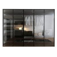 Quality Italian Style Glass Door Small Wardrobe With Drawers , Modern Freestanding Wardrobe Closet for sale