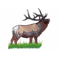 Quality Embroidery punching deer on the green grass land WDH9805 for sale