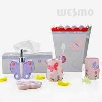 Quality Butterfly Shaped Dispenser And Dish Polyresin Bathroom Set Design For Children (WBP0808A) for sale