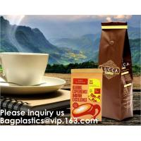 China Custom Printed Doypack Resealable Ziplock Standing Up Pouches Aluminum Foil Coffee Packaging Bags With Zipper on sale