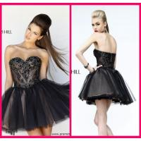 Quality Black Short Long Homecoming Dresses Sweetheart , Mini Short Beading Cocktail Dresses for sale