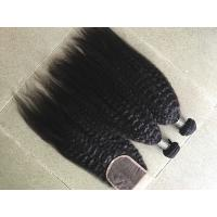 Quality Coarse Yaki Real Peruvian Human Hair Weave Kinky Straight Hair Extensions for sale
