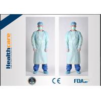 Quality Smooth Disposable Isolation Gowns Blue 46G CPE Gown With Thumb Hooks For Hospital for sale