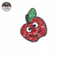 Quality Red / Golden Apple Sequin Embroidery Patches 16*19CM Size For Kids Clothes for sale