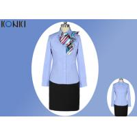 China Simple Durable Long Sleeve Blue Office Uniform For Office Wear on sale