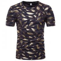 China Plus Size Mens Gold Foil T Shirt / Sublimation Oversized Band T Shirt Soft on sale