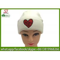 Quality Chinese manufactuer  red heart embroidered knitting stripe hat  cap  beanie 79g 20*22cm 100%Acrylic keep warm for sale