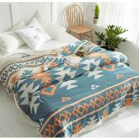 Quality 100% cotton quilt throw blanket Bohemia Style duvet 200*230cm AB side bedspread 4 layer Gauze Jacquard bed cover for sale
