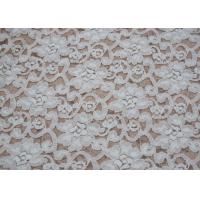 Quality Fashion Brushed White Lace Fabric Flower Shape , Stretchable 135cm Width CY-LQ0042 for sale