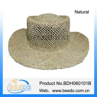 China Natural salt grass straw wide brim cowboy hat for men on sale