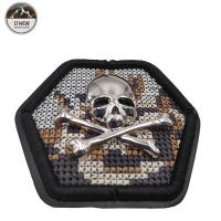 Quality Hexagon Skull Crossbones Custom Cloth Patches Fashion 3D Embroidery Technics for sale