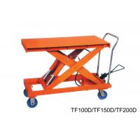 Quality Flexible Double Scissor Hand Lift Table Steering Mechanical , Casters With Brakes for sale