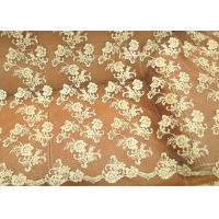 Quality Gold Retro Scalloped Corded Lace Fabric , Polyester Embroidered Floral Tulle Fabric for sale