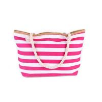 Custom Shopping bags With Cotton Rope Handle Red Striped 43*37*12 cm