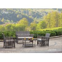 Buy cheap Steel Frame Patio Furniture Table And Chairs 4 Piece , Wicker Patio Furniture Sets product