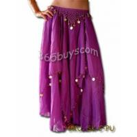 China Chiffon Belly Dance SKIRT Costume,GOLD COINS on sale