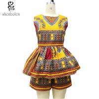 Quality Sleeveless Top Two Pieces Short African Print Pants Suit , Latest Fashion African Wear Designs for sale
