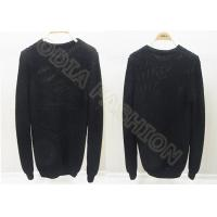 China Solid Black Mens Scoop Neck Sweaters Long Sleeve Wool Pullover for Autumn on sale