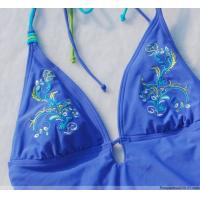 Quality Blue Embroidered Front Clasp Cotton / Spandex / Bamboo Breathable Womens Underwear Bras for sale