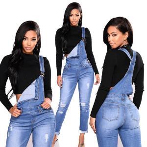 Custom Elastic Long Bib Blue Ripped Jeans Womens Ripped Jeans For Girls